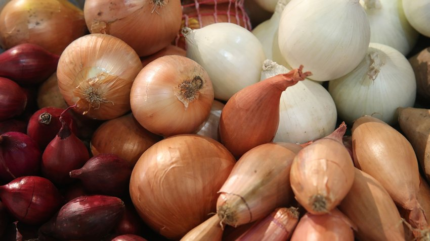 Onions and shallots lie on display at the 2018 International Green Week agricultural trade fair on January 19, 2018 in Berlin, Germany.