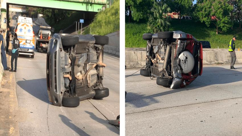 Accidente con carros volcados en la avenida Piñero de San Juan