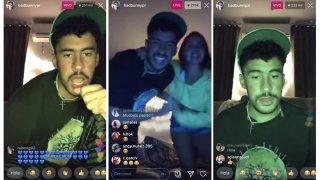 Combo de tres capturas del directo que ofreció el trapero puertorriqueño Bad Bunny este fin de semana en Instagram, en medio de la cuarentena por el Covid-19