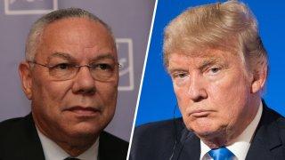 Combinación de fotografías de Colin Powell y el presidente Donald Trump.