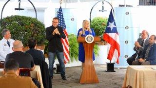 Gobernadora Wanda Vázquez en conferencia sobre coronavirus.