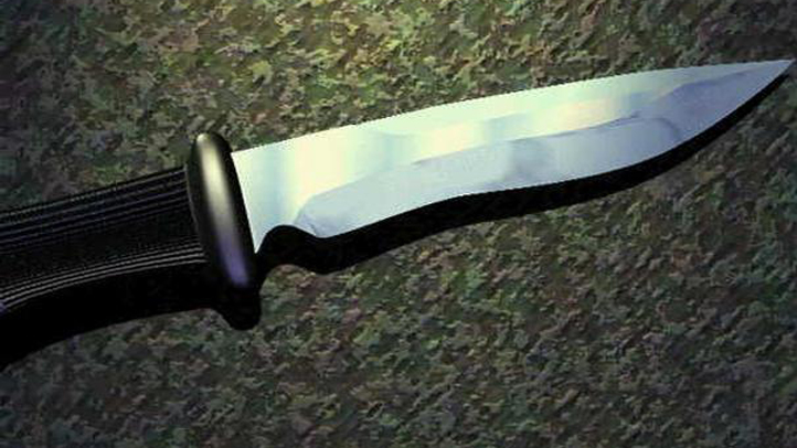 A knife with a black handle