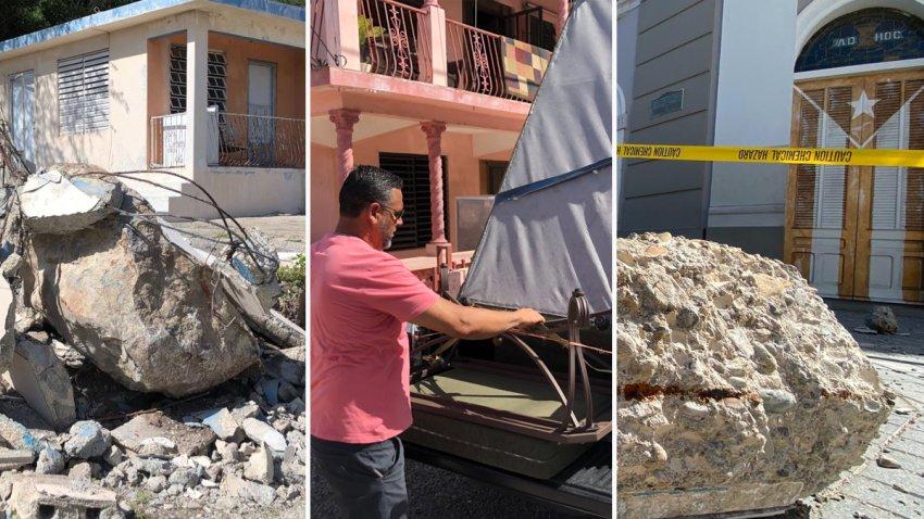 Combinación de fotografías de varios detrozos luego de un terremoto el sábado 11 de enero de 2020.