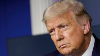 In this Sept. 23, 2020, file photo, President Donald Trump listens during a news conference in the James S. Brady Press Briefing Room at the White House in Washington, D.C.