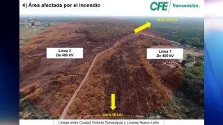Mapa de un supuesto incendio que provocó un apagón en México