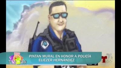 Pintan mural en honor a policía Eliezer Hernández