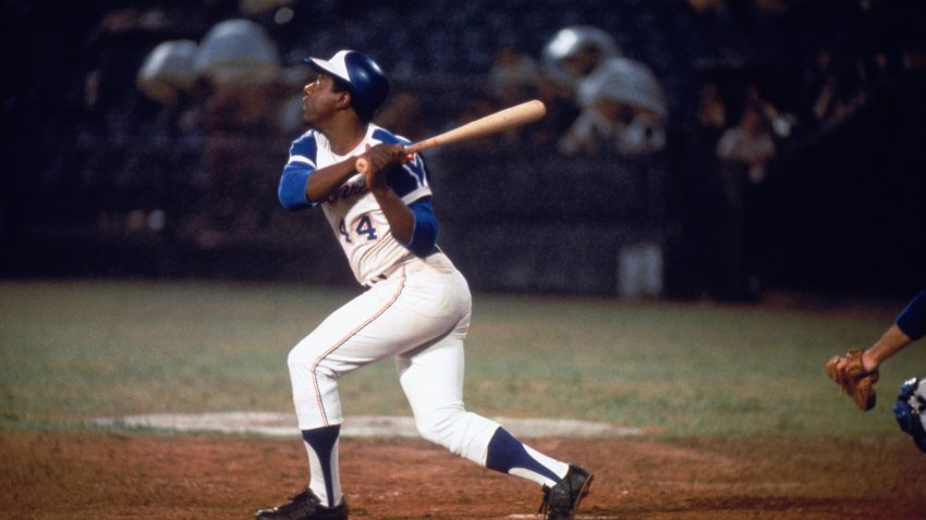 Hank Aaron Swings at a pitch