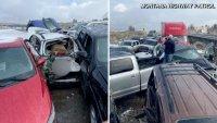 Impresionante video: brutal accidente en cadena de 30 autos en autopista de EEUU