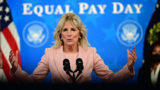 US First Lady Jill Biden speaks during an Equal Pay Day event in the South Court Auditorium of the White House in Washington DC, on March 24, 2021.