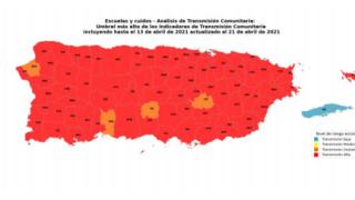73 municipios en nivel rojo, según el informe semanal del Sistema de Vigilancia del Departamento de Salud.