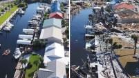 Imágenes grabadas en Mexico Beach previo al huracán y tomadas tras su impacto muestran la extensión de los daños.
