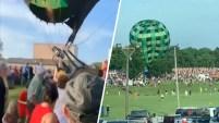 El globo aerostático interrumpió una celebración en Hannibal, Missouri.