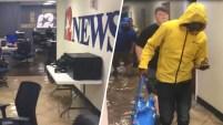 Las fuertes lluvias de la depresión tropical Imelda causaron la inundación de la estación NBC en Beaumont, Texas, KJAC.