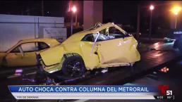 Violento accidente de un auto contra metro rail