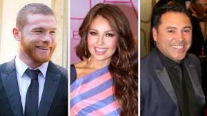 Canelo y De La Hoya quieren que Thalía cante el himno