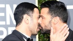 ¿Beso en la boca? Así captaron a Ricky Martin y su novio en los Golden Globe