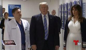 El presidente Trump visita a sobrevivientes de la masacre