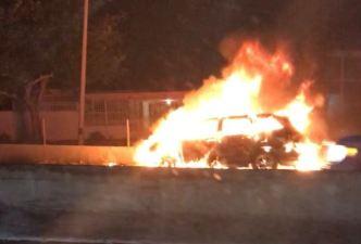 Pareja resulta ilesa tras incendiarse su auto en el expreso