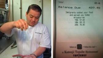 En los recibos: famoso chef apoya a inmigrantes
