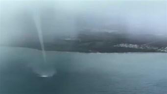 Impresionante tromba marina al sur de Guayama