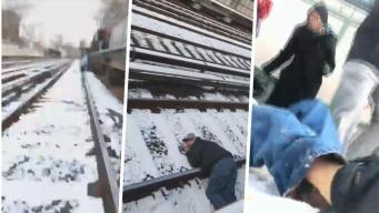 En video: hombre cae inconsciente a las vías del tren