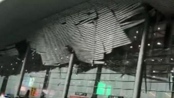 En video: fuertes vientos arrancan techo de aeropuerto