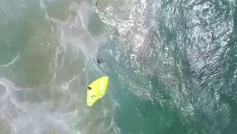 Inédito y en video: dron los salva de morir en el mar