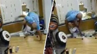 En video: queda en calzones durante robo a comercio