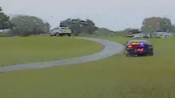 Lo persiguen a toda velocidad por un campo de golf