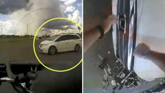 En video: policía en moto se estrella y vuela por los aires