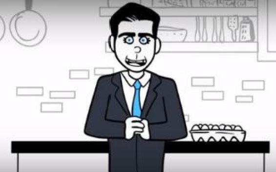 Viral animación de los candidatos intentando freir un huevo