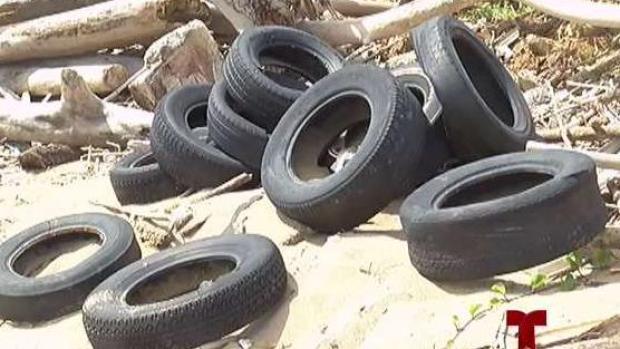 [TLMD - PR] Cientos de neumáticos arropan costa de Levittown