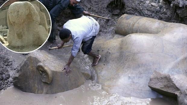 3,000 años después...en un barrio hallan estatua de Ramsés II, El Grande