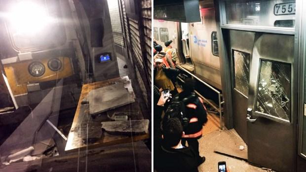 Imágenes del tren descarrilado en Brooklyn