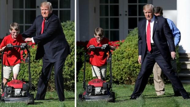 Deseo cumplido: niño corta césped de la Casa Blanca y aparece Trump