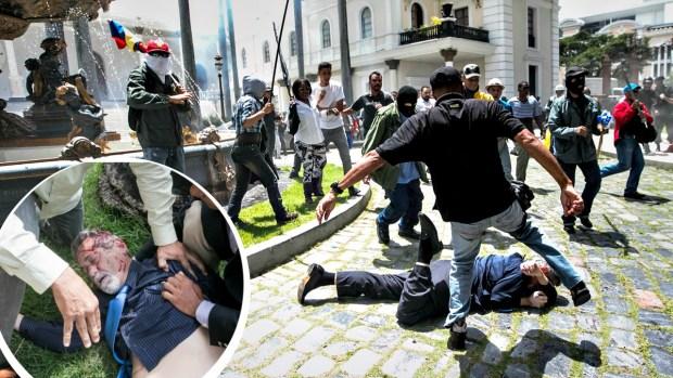 Violenta golpiza a diputados en Venezuela