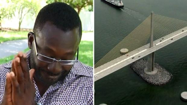 Chofer se convierte en héroe en puente a 200 pies de altura