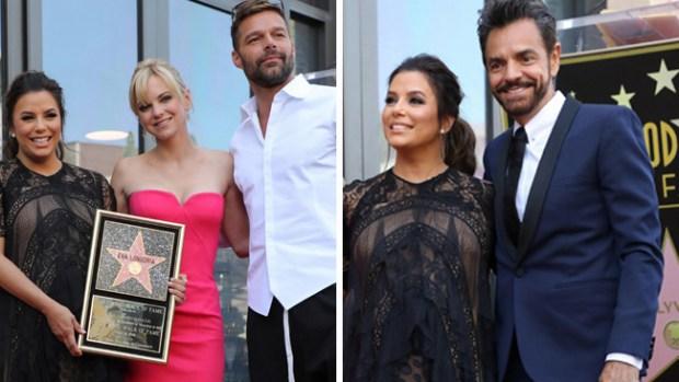 Longoria recibe estrella en Hollywood acompañada por Martin y Derbez