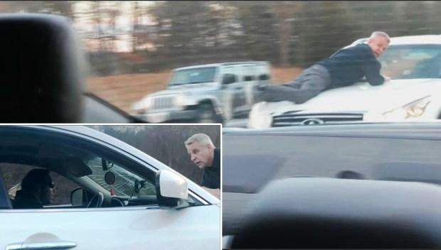 En Exclusiva: Conductor va a 70 MPH con hombre en el capó