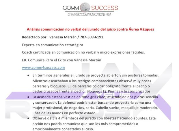 Analizan posible veredicto en caso contra Áurea Vázquez