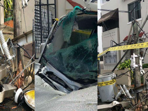 Poste con transformador cae sobre vehículo en marcha