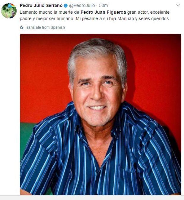 Famosos reaccionan a la muerte de Pedro Juan Figueroa