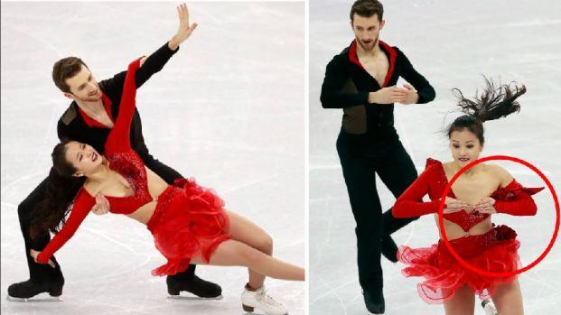 Se le rompe el vestido a patinadora y sufre para evitar vergüenza
