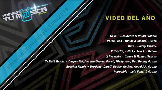 Estos son los nominados para los Premios Tu Música Urbano