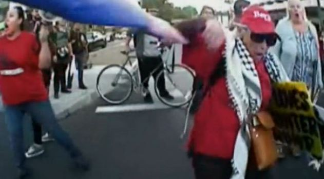 Policía empuja a anciana al suelo durante marcha