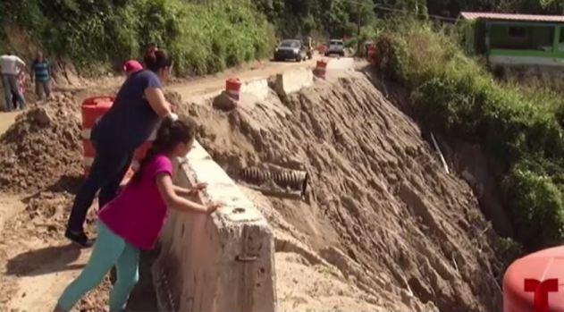 Impresionantes imágenes de derrumbes en Utuado