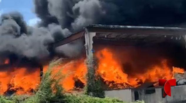Fuego de grandes proporciones en fábrica de gomas en Juncos