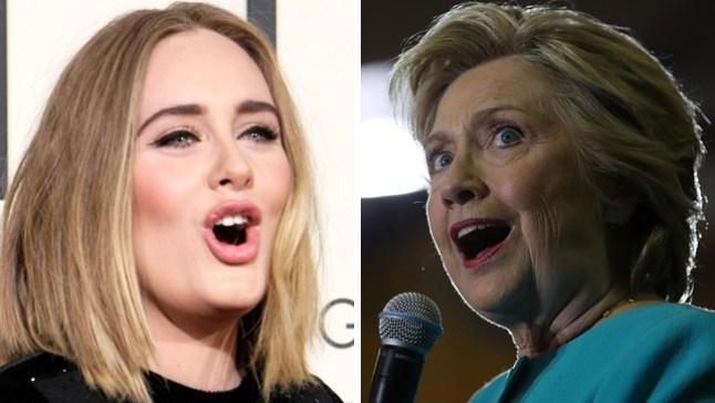 Clinton va a concierto de Adele y recibe su apoyo