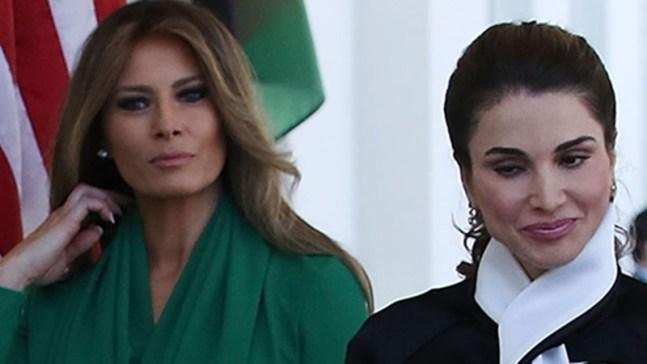 Así fue el encuentro de Melania Trump con la reina de Jordania