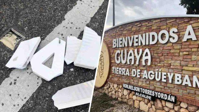 Vandalizan pórtico de bienvenida a Guayanilla